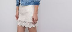 EMBROIDERED SKIRT WITH A SCALLOPED EDGE HEM - SKIRTS - WOMAN - PULL&BEAR Italy