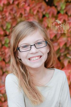 Tween girl with glasses pose, fall  © Lilac Hill Photography lilachillphotography.com