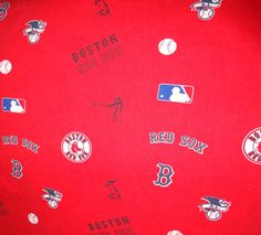 Boston Red Sox Fabric for Crafts Sewing Quilts red background material