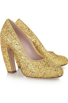Miu Miu Glitter-Finish Leather Pumps - This might be as close as I'll ever get to Dorothy's ruby slippers.