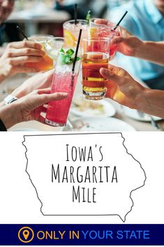 If you're looking for fun, Iowa's Margarita Mile is perfect for you. You'll find good drinks and lots of adventure. Bring friends on this boozy bar crawl. Fun Drinks, Alcoholic Drinks, Margarita, Mexican Food Recipes, Cravings, Vacation, Adventure, Type, Friends