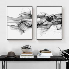 Stylish Abstract Black Vapor Trails Black And White Posters Fine Art Canvas Prints For Modern Office Decor Home Interior Wall Art Decoration Black And White Office, Black And White Artwork, Black And White Posters, Black And White Interior, Black And White Abstract, Black And White Frames, Black Decor, White Decor, Modern Office Decor