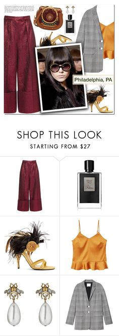 """""""How to Style a Plaid Blazer with an Orange Tank and Maroon Pants for Travel to Philadelphia, PA"""" by outfitsfortravel ❤ liked on Polyvore featuring Delpozo, Kilian, Prada, MANGO, Gucci, TIBI, Chloé and Whiteley"""