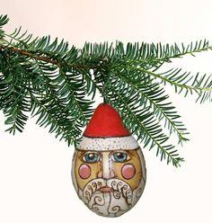 Saint Nicholas Santa Ornament Handmade Rustic
