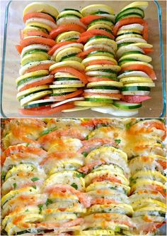 summer vegetable tian tbsp olive oil onion garlic zucchini squash potato tomato thyme salt & pepp Italian cheese sauté onion and garlic, put in bottom of pan, place sliced veggies vertically, top with seasonings and cheese. Summer Vegetable Recipes, Veggie Recipes, Vegetarian Recipes, Cooking Recipes, Healthy Recipes, Delicious Recipes, Tasty Recipe, Cooking Chef, Vegetarian Meals