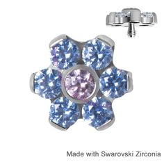 Blue Dermal Anchor Tops, set with Swarovski Zirconia Stones. Use on all your dermal anchors and micro dermals. Shop Today > www.karmase7en.com