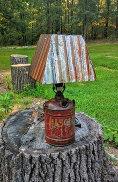 Lamp from vintage metal gas can and corrugated metal Industrial Project Ideas Decor Project Ideas Repurposed Furniture, Rustic Furniture, Industrial Furniture, Rustic Decor, Farmhouse Decor, Rustic Chair, Rustic Wood, Rustic Backdrop, Rustic Curtains