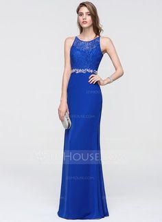 [US$ 116.99] Sheath/Column Scoop Neck Floor-Length Chiffon Prom Dress With Beading (018093853)