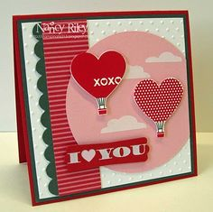 Valentine #card #scrapbook #hearts #hot #air #balloon #simple #bold