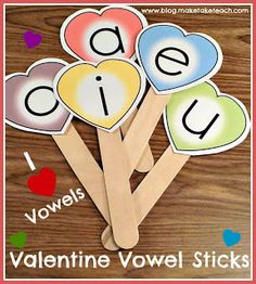Valentine Vowel Sticks - Pinned by @PediaStaff – Please Visit ht.ly/63sNtfor all our pediatric therapy pins