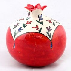 The pomegranate has been grown for thousands of years in the Mediterranean region, and is referenced throughout the Bible as one of the 7 species native to the Land of Israel. Pottery Painting, Ceramic Painting, Ceramic Vase, Ceramic Pottery, Thali Decoration Ideas, Pomegranate Art, Decorated Wine Glasses, Clay Art Projects, Wedding Plates