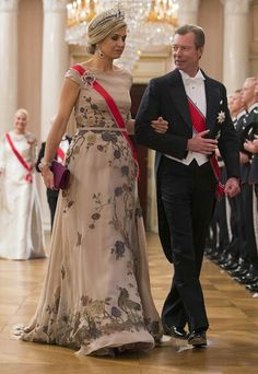 Queen Maxima Of The Netherlands Escorted By Grand Duke Henri Of Luxembourg. Maxima Wore The Dutch Sapphire Parure Tiara.