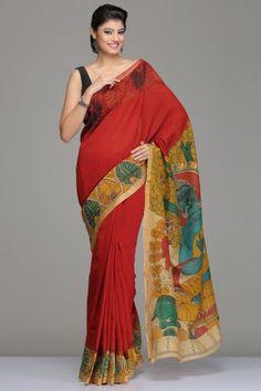 RED CHANDERI KALAMKARI SAREE WITH FLORAL VINE & GOLD ZARI BORDER AND BEAUTIFUL LORD BUDDHA MOTIF ON PALLU Indian Kurta, Indian Ethnic Wear, Indian Style, Indian Clothes, Indian Dresses, Indian Outfits, Saree Dress, Dress Up, Kalamkari Designs