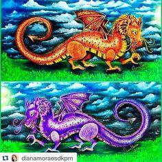 Dragões espetaculares by @dianamoraesdkpm  #dragão#florestaencantada #Enchantedforest  #dragon #johannabasford #desenhoscolorir #adultcolouring #coloringbook #coloring #arte #art  #adultcoloringbook