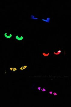 glowing eyes for Halloween made from toilet paper roll with a dollar store glow stick inside. Put in bushes by front door for spooky pairs of eyes.