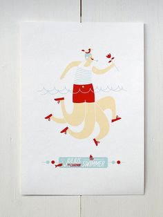 The Swimmer - Circus Series. $35.00, via Etsy.