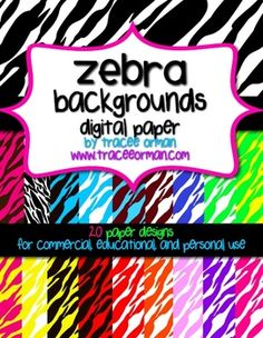 Zebra Backgrounds Digital Paper for Commercial Use - over 20 high-quality images in a variety of colors. (priced)