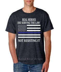 Real Hero Police Officer, Black Heather, Short Sleeve T-Shirt by KKDcustomized on Etsy