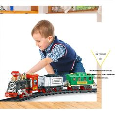 1 Set RC Train Toys Electric Remote Control Classic SteamTrain Model with Rails RC Toys for Children Gifts Mobile Robot, Lego Trains, Rc Model, Gadget Gifts, Cool Tech, Train Set, Toy Sale, Gifts For Kids, Kids Toys
