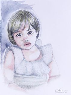 Mia by Chimù - Chiara Mulas Art, illustration and Design.  #colors #watercolors #watercolor #pencil #conceptual #concept #abstract #mood #girl #portrait #kid #children #tears #emotions