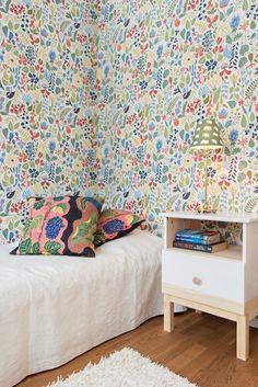 Sovrum med klassiska tapeter