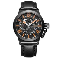 IK colouring Rose Gold Case Automatic Mechanical Watches Men Brand Luxury Genuine Leather Transparent Hollow Skeleton Watch