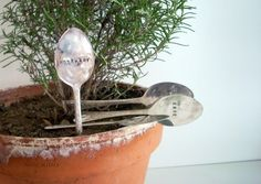 use thrift store spoons to make garden markers