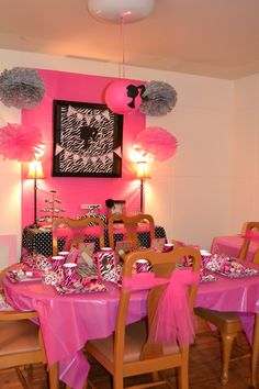 Vintage Barbie party.  Color scheme and tie tulle around chairs.
