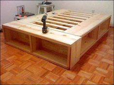 Diy Platform Bed With Storage - As a personal owner of king size platform beds, I could testify that it is the best purchas Platform Bed Plans, King Size Platform Bed, Platform Bed With Storage, Queen Platform Bed Frame, Platform Beds, King Size Storage Bed, King Size Bed Frame, Diy King Bed Frame, Diy Bedframe With Storage