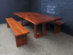 U Base Redgum Slab top Table.