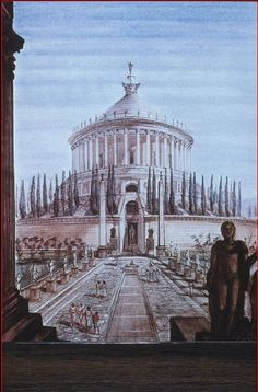Artist's reconstruction of the Mausoleum of Augustus(27 BC-14 AD) in Rome. -It was a tome built by the Roman Emperor, and many fates fell upon it. It was pillaged, and urns and ashes scattered. Even later it was used as fortification, but after a lost battle, it was abandoned, and thus became a ruin.