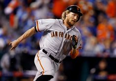 San Francisco Giants' Hunter Pence rounds first base on his second inning double in Game 6 of baseball's World Series against the Kansas City Royals at Kauffman Stadium in Kansas City, Mo., on Tuesday, Oct. 28, 2014. (Nhat V. Meyer/Bay Area News Group)