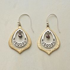 """PEACOCK'S EYE EARRINGS--In these elegant earrings, a single peacock pearl beckons within lacy sterling silver and hand-hammered brass. Exclusive. 1-3/8""""L."""