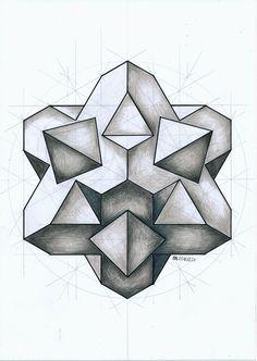 #solid #polyhedron #geometry #symmetry #pattern #handmade #mathart #regolo54 #Escher #structure #pencil #platonic #triangle