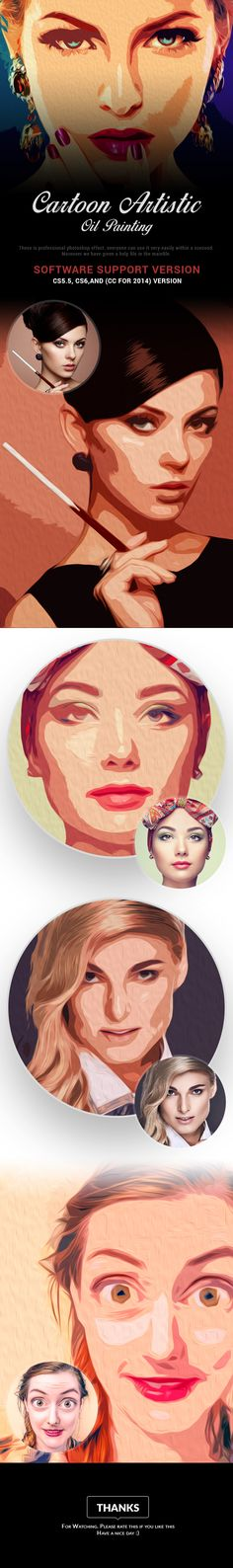 Cartoon Artistic Oil Painting - Photo Effects Actions