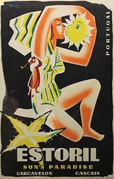 "vintage travel poster, Estoril, Portugal - ""Paradise of the Sun"" Retro Ads, Vintage Advertisements, Vintage Ads, Tourism Poster, Poster Ads, Portugal Tourism, Visit Portugal, Vintage Beach Posters, Retro Illustration"