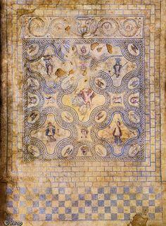 Mosaïque représentant l'histoire de Penthée datée de la fin du IIe s. ou du début du IIIe s. de notre ère. Fouille de l'avenue Jean Jaurès.Nîmes..
