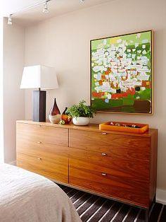 Mid-century modern dresser  / Sarah Richardson vintage modern condo master bedroom