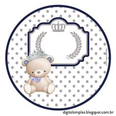 """Convites Digitais Simples: Kit Aniversário """"Ursinho Príncipe Azul"""" para Imprimir"""