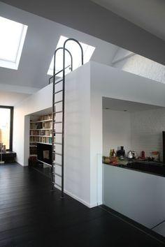 metal ladder to the loft bedroom
