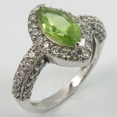 925 Solid Sterling Silver PERIDOT & CZ Gems Ring Size US 7 1/4 ! Gift For Love #SunriseJewellers #Solitaire