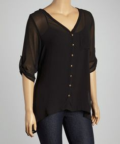 Look what I found on #zulily! Black Sheer Roll-Tab Sleeve Button-Up - Plus #zulilyfinds