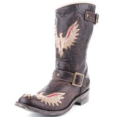 Old Gringo Full Biker Eagle Star Cowboy Boots -- I don't think you could fit any more attitude into this biker boot....