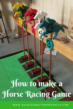 How to make a indoors or outdoors horse racing game. This is a great activity for the elderly and young alike. Horse Racing Party, Horse Race Game, Horse Games, Horse Party, Derby Horse Race, Derby Games, Race Party, Baby Shower, Craft Projects