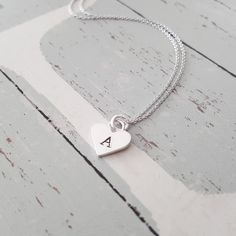 "Personalized Sterling Silver Heart Pendant Letter ""A-Z"" Initial Necklace"