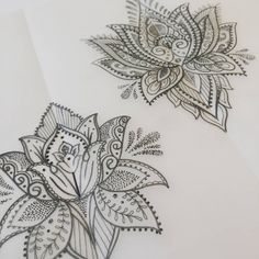 Upper right lotus: I like the overall shape and details on the petals. I like the downward pointed petals at the bottom and how it keeps the eye moving around the artwork. Back Tattoos, Future Tattoos, New Tattoos, Cool Tattoos, Tattoo Sketch, Tattoo Drawings, Lotus Tattoo, Mandala Tattoo, Sternum Tattoo