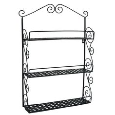 24 Inch Tall Classic Elegant Large Black Metal Wall Mounted Shelves Kitchen Spice Rack / Bathroom Accessory Storage Multi Purpose Organizer