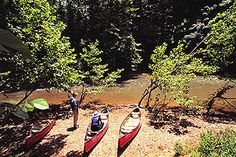 Canoes ready to put-in, Red River, Red River Gorge Geological Area, Daniel Boone National Forest, Kentucky