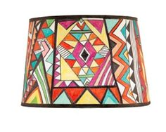 Caucasian Kilim 10 x 12 x 8 Hand Painted Paper Lampshade (my take on a bright kilim)