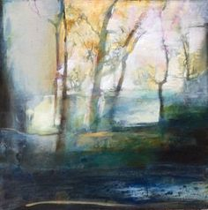 Contemporary Artists of Colorado: Contemporary Abstract Landscape Painting \Time of Reflection\ by Intuitive Artist Joan Fullerton